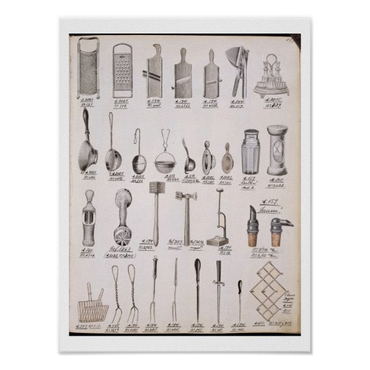 Kitchen utensils, from a trade catalogue of domest