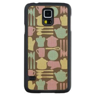 Kitchen Utensils Pattern 2 Maple Galaxy S5 Slim Case