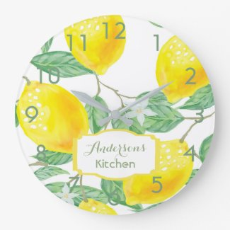 Kitchen wall clock with lemons and name