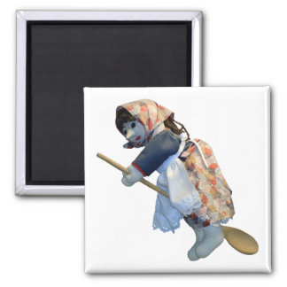 Kitchen Witch Riding Spoon magnet