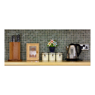 Kitchen worktop with kitchen items poster
