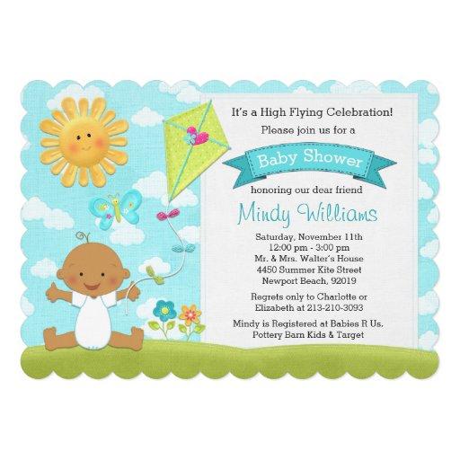 Kite Baby Shower Invitation African American Boy