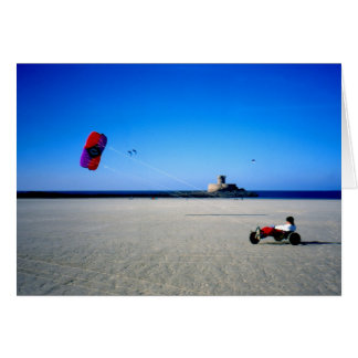 Kite Buggy on St Ouen s beach in Jersey Greeting Cards