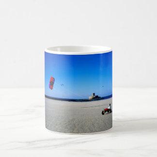 Kite Buggy on St Ouen's beach in Jersey Basic White Mug