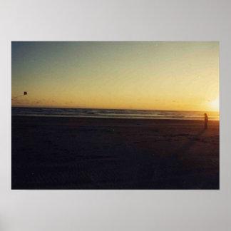Kite flyer at sunset print