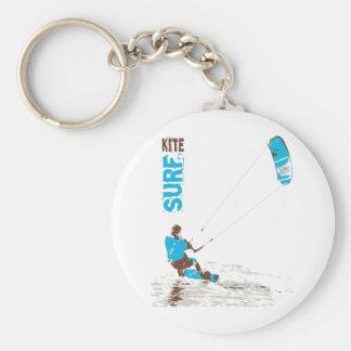 kite surf basic round button key ring