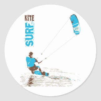 kite surf classic round sticker