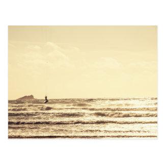 Kite Surfer at Sunset Newquay Cornwall Postcard