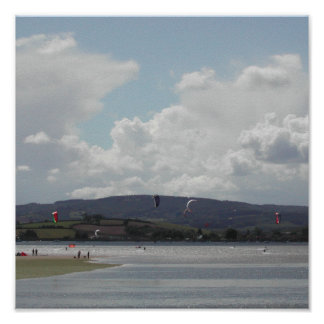 Kite Surfers. Nice scenic view. Poster