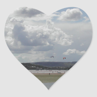 Kite Surfers. Scenic view. Heart Sticker