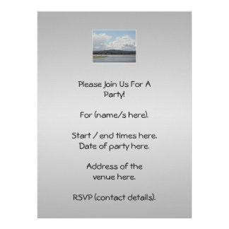 Kite Surfers Scenic view On Gray Custom Invitations
