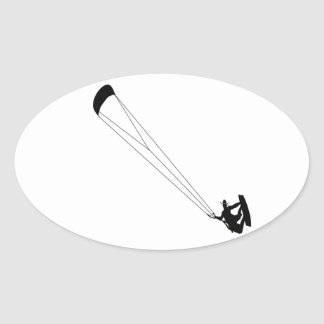 Kite Surfing Cowboy Oval Sticker