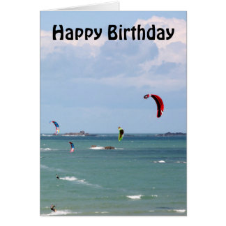 Kite Surfing Race Happy Birthday Card