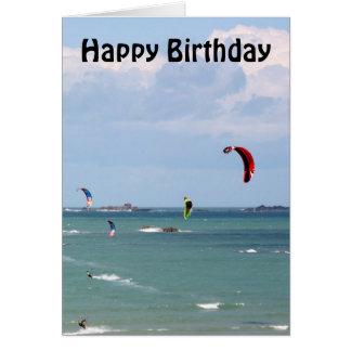 Kite Surfing Race Happy Birthday Greeting Card