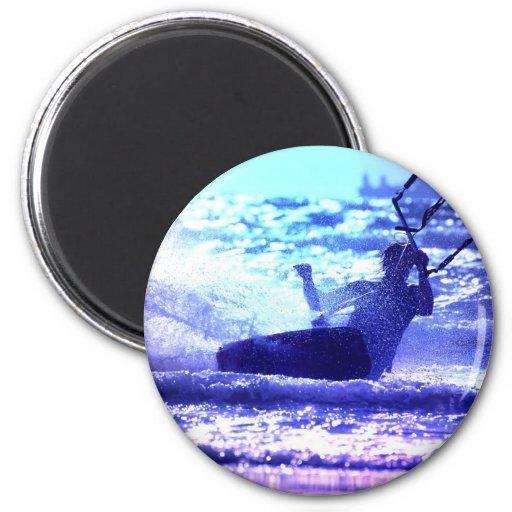 Kite Surfing Round Button Magnets