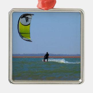 Kiteboarding Silver-Colored Square Decoration