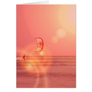 Kiteboarding Sunset Greeting Card