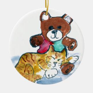 Kiten's Teddy Bear Nap Round Ceramic Decoration