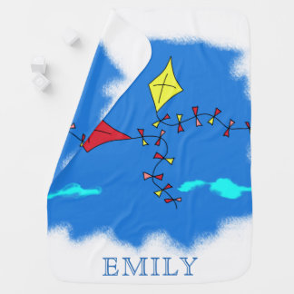 Kites in the Blue Sky Name Baby Blanket