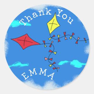 Kites in the Sky Thank You Name Round Sticker