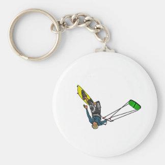 kitesurfer basic round button key ring