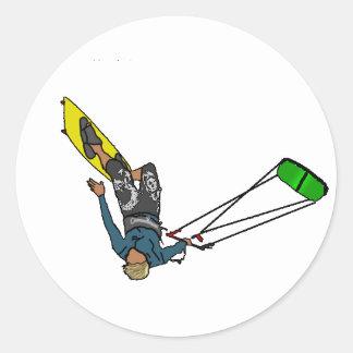 kitesurfer classic round sticker