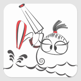 Kitesurfing doll square sticker