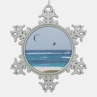 Kitesurfing Pewter Snowflake Decoration