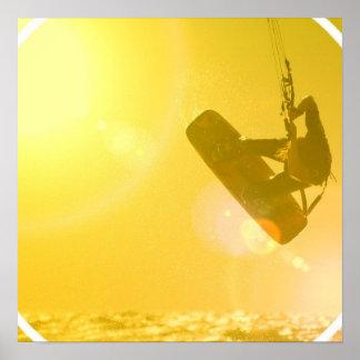 Kitesurfing Silhouette Poster