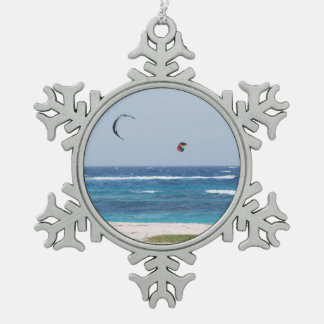 Kitesurfing Snowflake Pewter Christmas Ornament