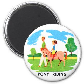 Kitsch 60s Vintage Resort Pony Riding Illustration Magnet