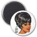 Kitsch Vintage '100% Human Wig' Ad #2 6 Cm Round Magnet