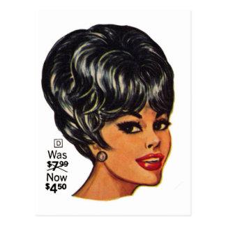 Kitsch Vintage '100% Human Wig' Ad #2 Postcard