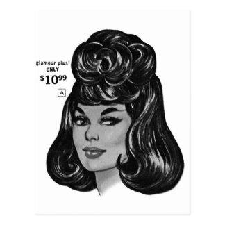 Kitsch Vintage '100% Human Wig' Ad Postcard