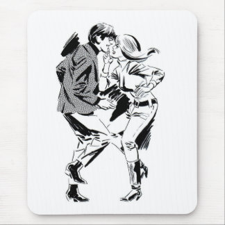 Kitsch Vintage 60's Dancing Teens Mouse Pad