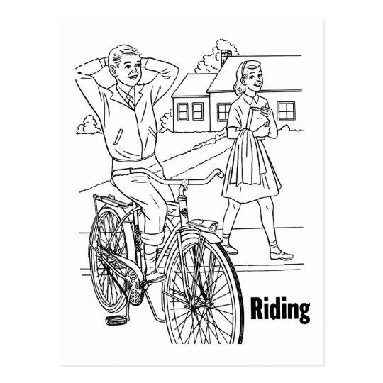 Kitsch Vintage 60's Teens Cruising Biker Postcard