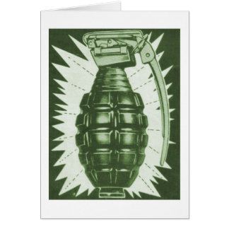 Kitsch Vintage 'Actual Hand Grenade' Comic Ad Greeting Card