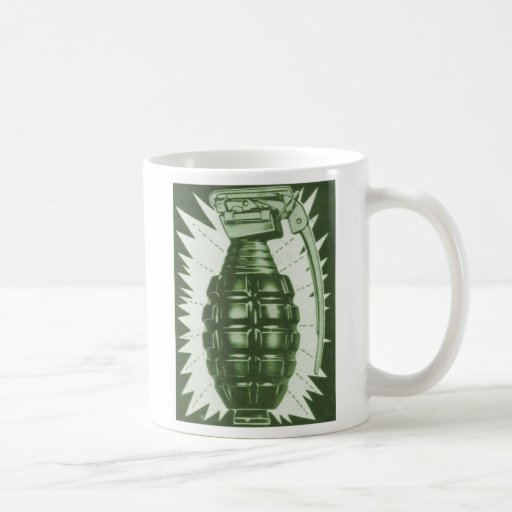 Kitsch Vintage 'Actual Hand Grenade' Comic Ad Coffee Mugs