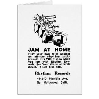 Kitsch Vintage Ad Jam at Home Jazz Greeting Card