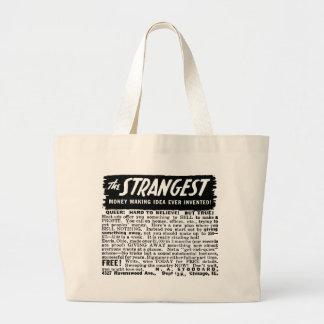 Kitsch Vintage Ad Strangest Why to Make Money Jumbo Tote Bag