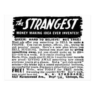 Kitsch Vintage Ad Strangest Why to Make Money Postcard