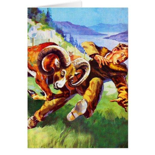 Kitsch Vintage Adventure 'Ram vs Man' Greeting Card