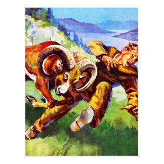 Kitsch Vintage Adventure 'Ram vs Man' Postcard