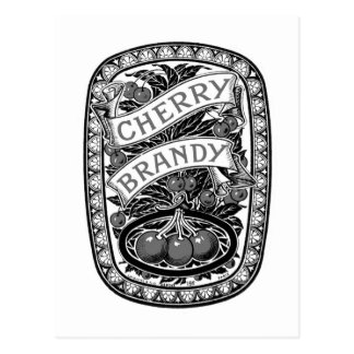 Kitsch Vintage Alcohol Cherry Brandy Label Postcard