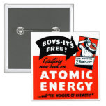 Kitsch Vintage Atomic Energy For Kids! Pinback Button