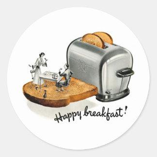 Kitsch Vintage Breakfast toast 'Happy Breakfast' Classic Round Sticker