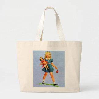 Kitsch Vintage Children Kids 'Happy Girl' Large Tote Bag