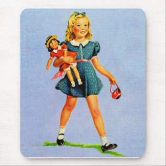 Kitsch Vintage Children Kids 'Happy Girl' Mouse Pad