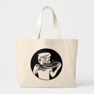 Kitsch Vintage 'Chomping Kid' Ribs BBQ Eating Jumbo Tote Bag