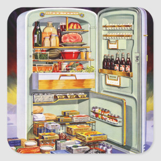 Kitsch Vintage Classic Refrigerator 'Full Fridge' Square Sticker